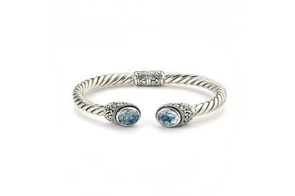 SS OVAL BLUE TOPAZ TWISTED BANGLE-Farsi Jewelers