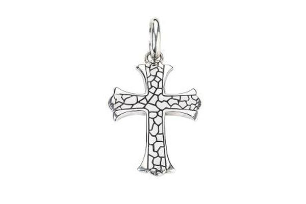 SS PEBBLE DESIGN CROSS PENDANT-Farsi Jewelers