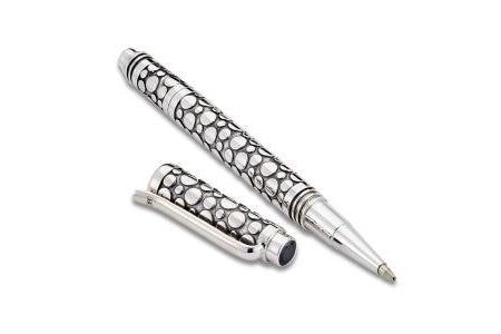 SS PEBBLE DESIGN PEN WITH BLACK SPINEL ENDCAP-Farsi Jewelers