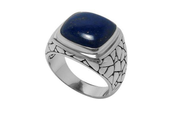 SS PEBBLE DESIGN RING WITH CUSHION CUT LAPIS-Farsi Jewelers