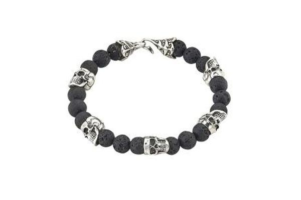 SS SKULL HEAD AND LAVA BEADED BRACELET-Farsi Jewelers