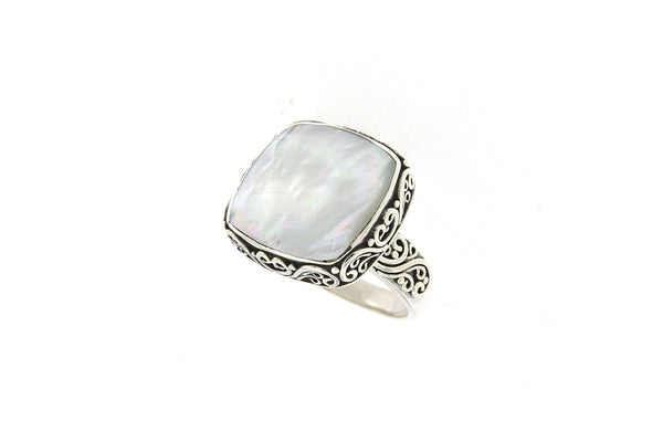 SS SQUARE BALINESE DESIGN MOTHER OF PEARL RING-Farsi Jewelers
