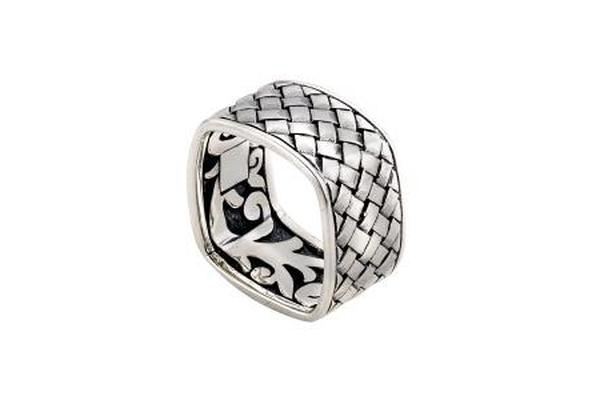 SS SQUARE BASKETWEAVE PATTERN RING-Farsi Jewelers