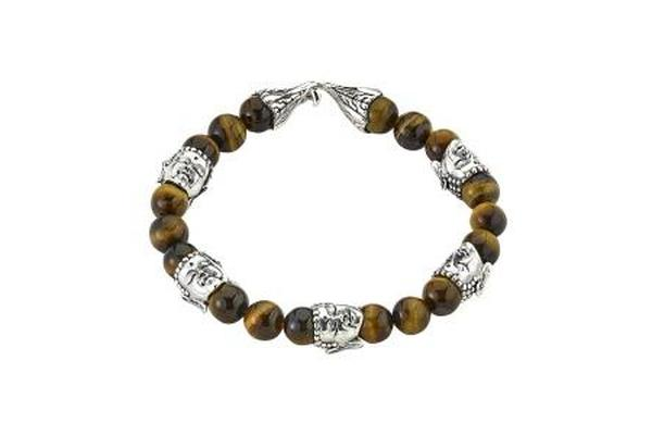 SS TIGER EYE BEADED BUDDAH BRACELET-Farsi Jewelers