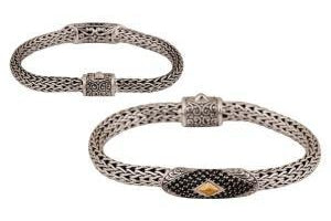 SS/18K 7MM WOVEN CHAIN BAR BRACELET W/ PAVE BLACK SPINEL-Farsi Jewelers