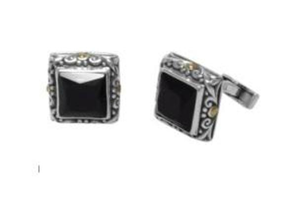 SS/18K BLACK ONYX SQUARE SHAPE CUFF LINKS-Farsi Jewelers
