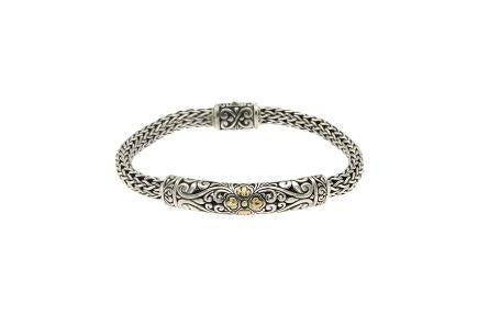 SS/18K BRACELET WITH BALINESE DESIGN-Farsi Jewelers