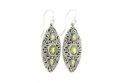 SS/18K MARQUISE SHAPED PERIDOT EARRINGS-Farsi Jewelers