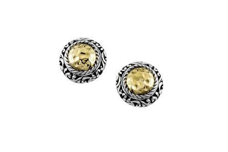 SS/18K ROUND HAMMERED GOLD STUD EARRINGS-Farsi Jewelers