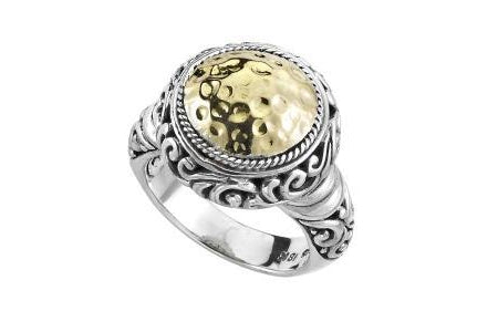 SS/18K ROUND HAMMERED YELLOW GOLD RING-Farsi Jewelers
