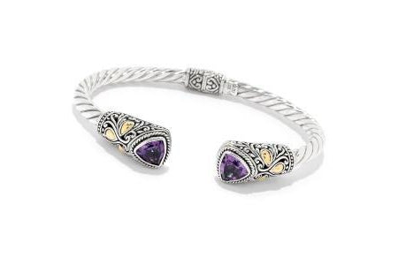 SS/18K TRILLION AMETHYST HINGED BANGLE-Farsi Jewelers