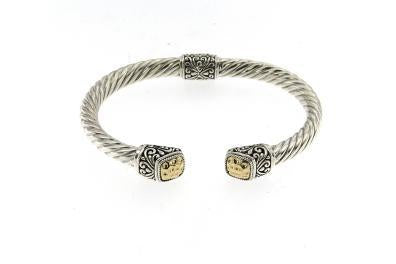 SS/18K TWISTED CABLE BANGLE WITH HAMMERED GOLD CUSHION ENDCA-Farsi Jewelers