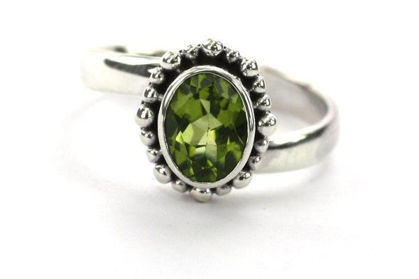 ST-SILVER BALI OVAL PERIDOT BEADED RING Adjustable-Farsi Jewelers