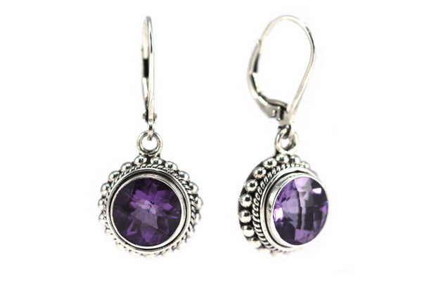 ST-SILVER BALI ROUND AMETHYST EARRINGS-Farsi Jewelers