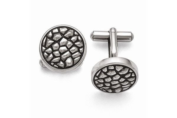 Stainless steel antiqued and textured cufflinks-Farsi Jewelers