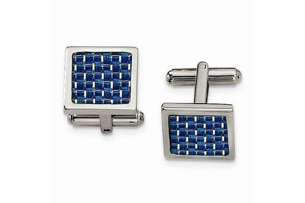 STAINLESS STEEL BLUE CARBON FIBER CUFF LINKS-Farsi Jewelers