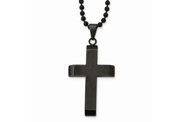 Stainless Steel Brushed And Polished Black IP-Plated Cross Necklace-Farsi Jewelers
