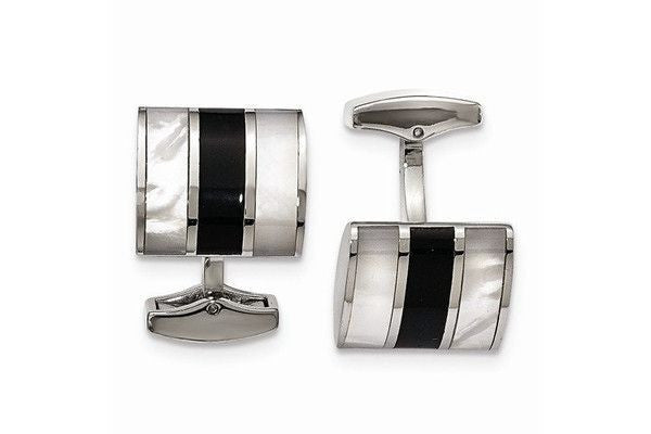 Stainless Steel Polished Black Stone & Mother Of Pearl Cuff Links-Farsi Jewelers