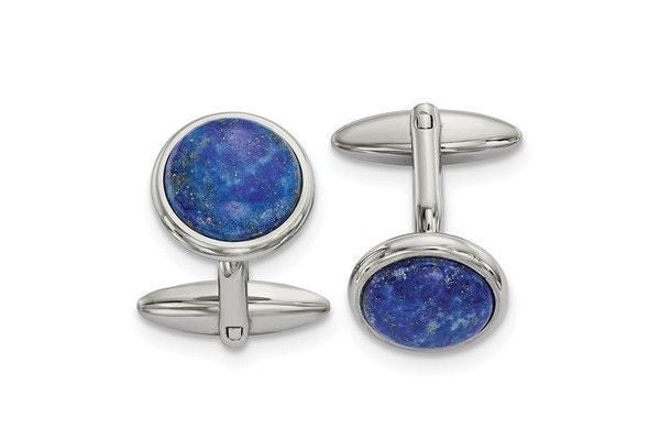 Stainless Steel Polished Lapis Cuff Links-Farsi Jewelers