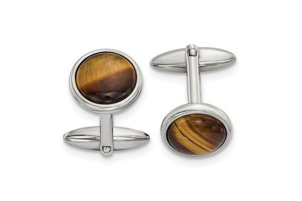 Stainless Steel Polished Tigers Eye Cuff Links-Farsi Jewelers