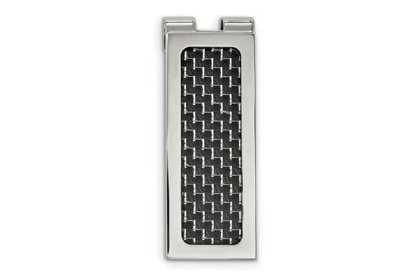 Stainless Steel Polished With Black Carbon Fiber Inlay Money Clip-Farsi Jewelers