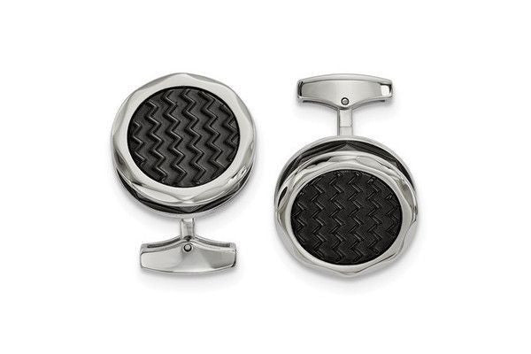 Stainless Steel Polished Zig Zag Black IP-Plated Round Cuff Links-Farsi Jewelers