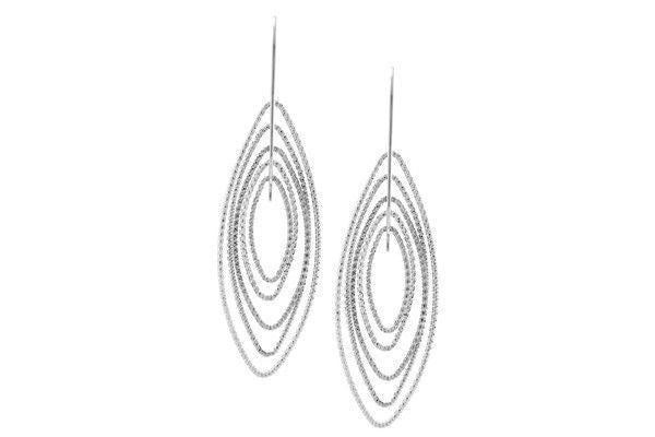 Sterling Silver 3D Marquise Earrings.-Farsi Jewelers