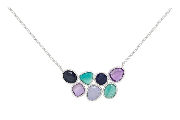 Sterling Silver Amazonite, Chalcedony, Blue Aventurine, Amethyst Necklace-Farsi Jewelers
