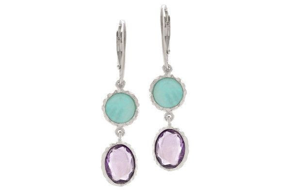 Sterling Silver Amethyst + Amazonite Earrings-Farsi Jewelers