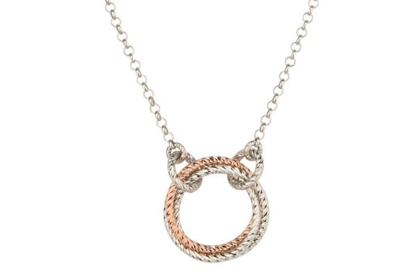"Sterling Silver And Rose Gold Plated Single Love Knot Necklace 19""-Silver Jewelry-Farsi Jewelers"