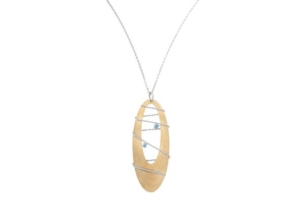 Sterling Silver Bt Gold Tone Borealis Necklace-Farsi Jewelers