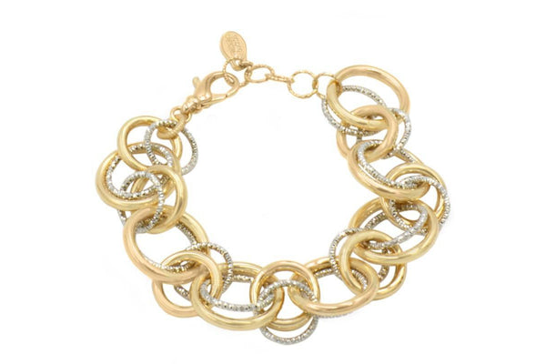 STERLING SILVER YELLOW GOLD PLATED RING-A-LING BRACELET-Farsi Jewelers