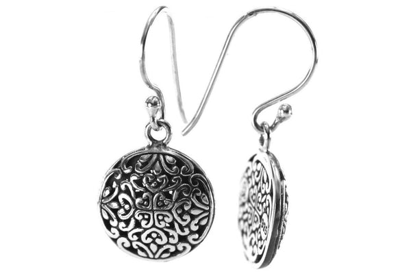 W E D A 925 S. Silver Bali Round Filigree Earrings-Farsi Jewelers