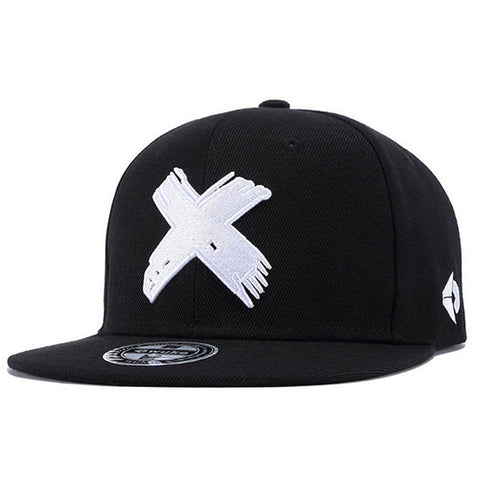 Distressed X Embroidered Snapback Cap Hats- Rowlhen, LLC