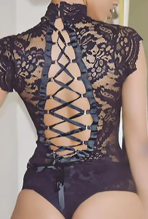 AHYOKA - RIBBON LACE BACK BODYSUIT