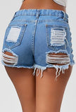 ERICA - LACED-UP DENIM SHORTS