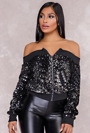 FAITH - SEQUIN BOMBER JACKET