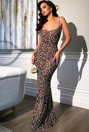 JESS - LEOPARD CHIFFON DRESS