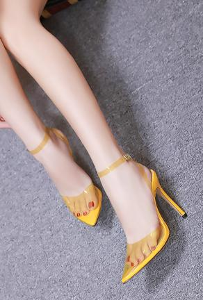 JULIA - STRAP BACK TRANSPARENT HEELS