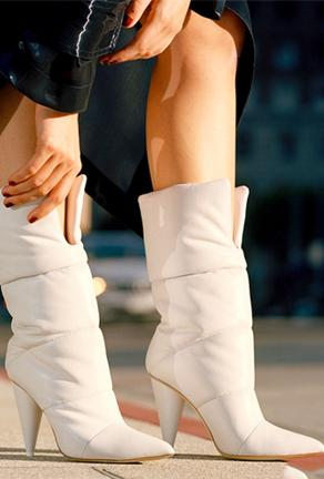 KIMORA - QUILTED WHITE BOOTS