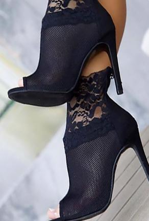 LISA - LACE MESH ANKLE HEELS