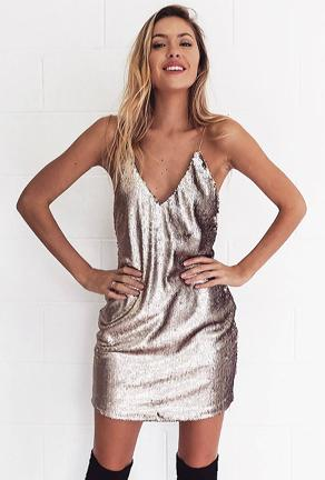 SAMANTHA - SEQUINS TANK DRESS
