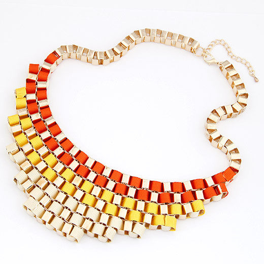 Europe and the United States fashion fashion elegant three-color metal hand-woven short necklace - Selenekiss