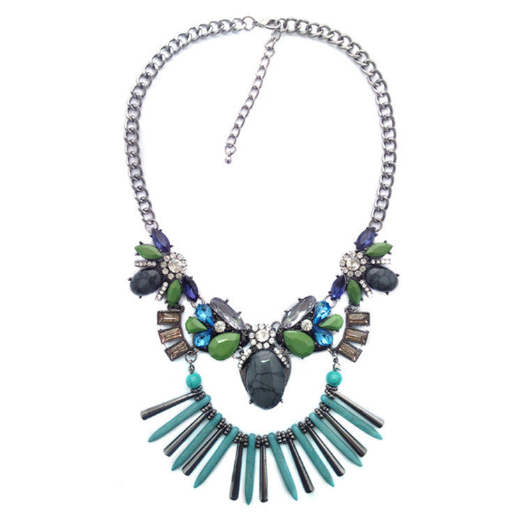 Necklace bohemian fringes stone gem exaggerated big European and American short necklace water drops accessories female