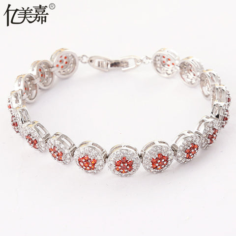 Europe and the United States gold-plated color AAA zircon crystal bracelet female foreign trade fashion couple Roman bracelet wholesale burst models - Selenekiss