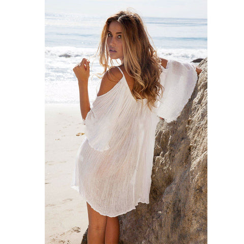 Fashion Women Loose Bohemian Strapless Off Shoulder Half Sleeve Beach Mini Dress L851 - selenekiss - 1