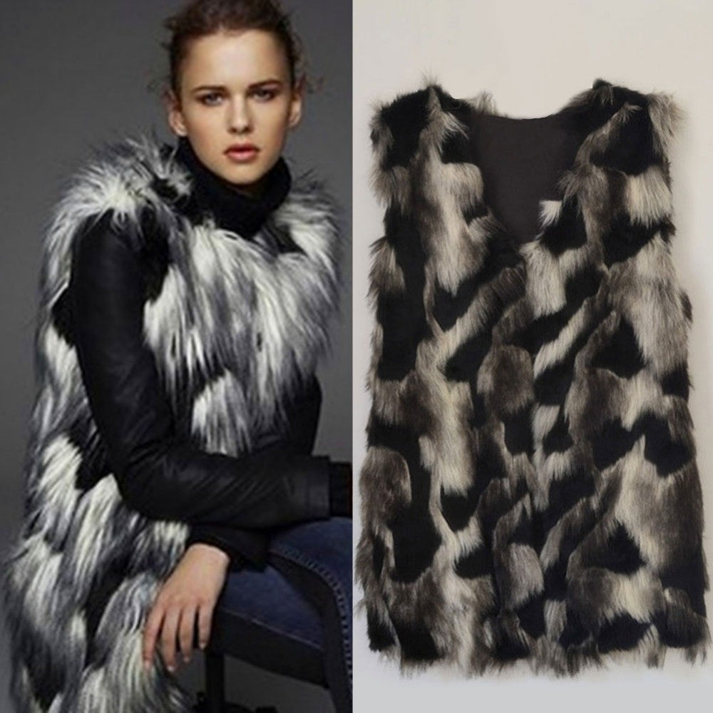 Korea Trendy Women Faux Fox Fur Vest Waistcoat Lady Long Gilet Outerwear Sleeveless Warm Coat Autumn Veste Femme H072 - selenekiss - 1