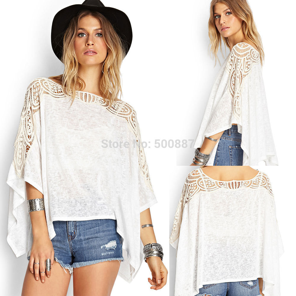 New Cute Women Irregular Shirts Solid Color Lace Patchwork Batwing Sleeve Tops Women Blusas Plus Size White S205 - selenekiss - 1