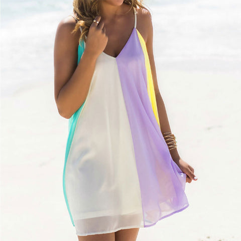 Summer Styles Europe and America Chiffon Dress Sleeveless Strapless Mini Sexy Dress Loose Beach Dress L886 - selenekiss - 1