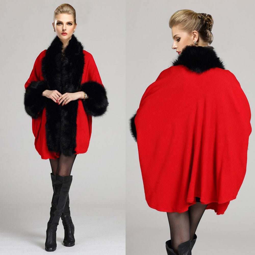 Women Autumn & Winter Luxury Fur Cloak Cape Coat New Wool Parka Overcoat Tops W051 - selenekiss - 1